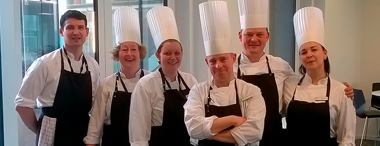 Head Chef Jacob Justesen with his team at Maersk Oil.